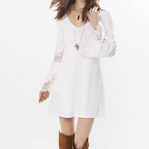 Express lace bell sleeve dress